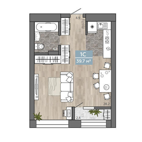 Вариант №3110, 1-комнатная квартира в жилом комплексе На Королева