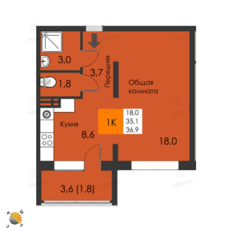 Вариант №2305, 1-комнатная квартира в жилом комплексе