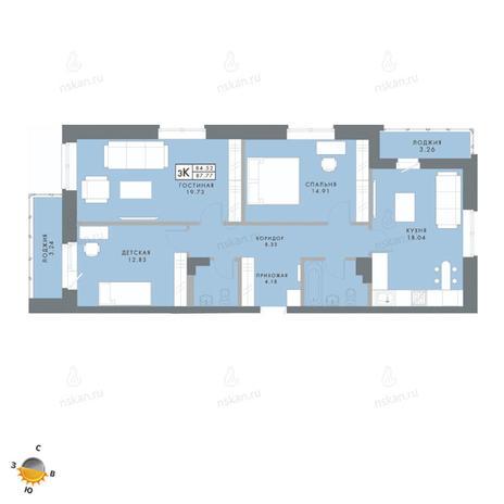 Вариант №2478, 4-комнатная квартира в жилом комплексе Традиции