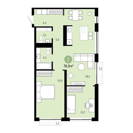 Вариант №6379, 3-комнатная квартира в жилом комплексе