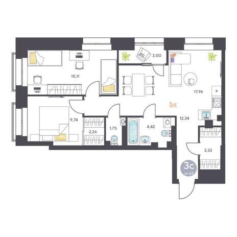 Вариант №5116, 3-комнатная квартира в жилом комплексе Пшеница