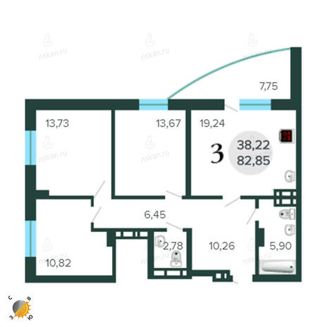 Вариант №2274, 4-комнатная квартира в жилом комплексе Бавария
