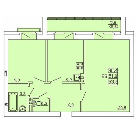 Вариант №4003, 2-комнатная квартира в жилом комплексе