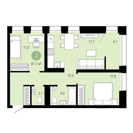 Вариант №4037, 3-комнатная квартира в жилом комплексе