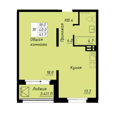 Вариант №5261, 1-комнатная квартира в жилом комплексе