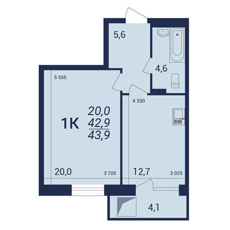 Вариант №3917, 1-комнатная квартира в жилом комплексе NOVA-дом