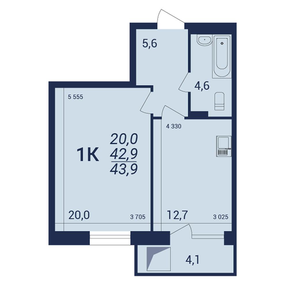Планировка 1-комнатная площадью 43.9 м<sup>2</sup> в ЖК NOVA-дом