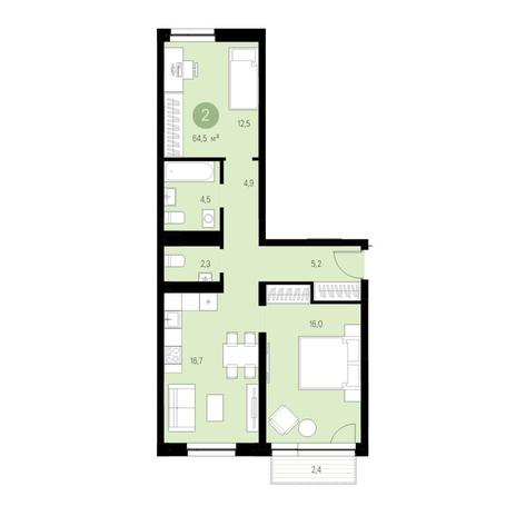 Вариант №4643, 3-комнатная квартира в жилом комплексе
