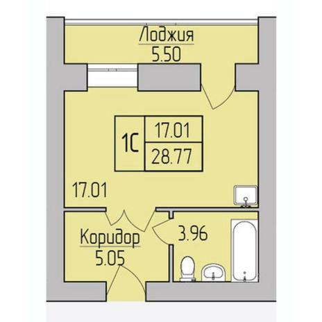 Вариант №5377, 1-комнатная квартира в жилом комплексе