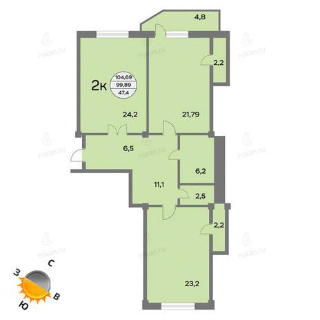 Вариант №1442, 3-комнатная квартира в жилом комплексе Родонит