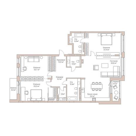 Вариант №3582, 4-комнатная квартира в жилом комплексе Flora & Fauna