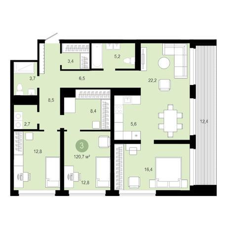 Вариант №4595, 4-комнатная квартира в жилом комплексе Европейский Берег