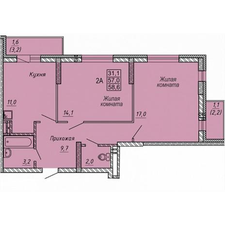 Вариант №5327, 2-комнатная квартира в жилом комплексе