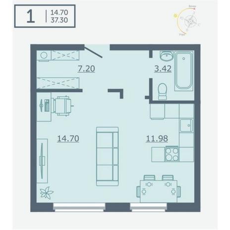 Вариант №4747, 1-комнатная квартира в жилом комплексе