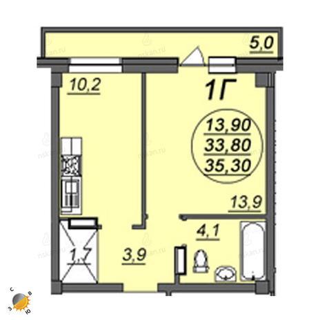 Вариант №2354, 1-комнатная квартира в жилом комплексе На Королева