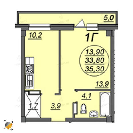 Вариант №2354, 1-комнатная квартира в жилом комплексе Аэропорт