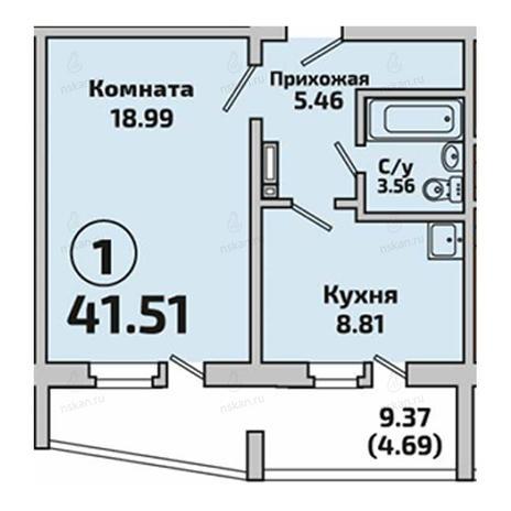Вариант №2843, 1-комнатная квартира в жилом комплексе Приозерный
