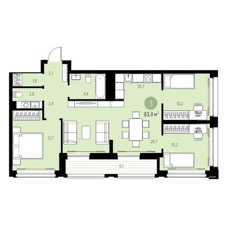 Вариант №5468, 4-комнатная квартира в жилом комплексе Жуковка