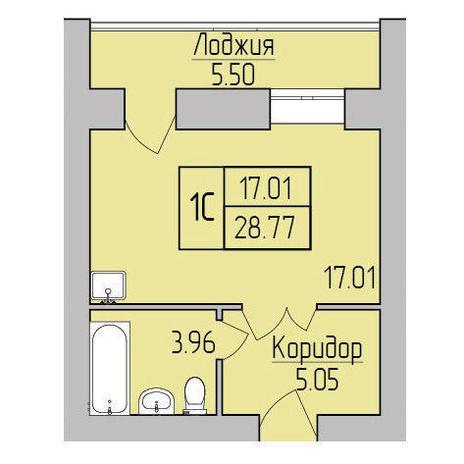Вариант №3854, 1-комнатная квартира в жилом комплексе Дивногорский