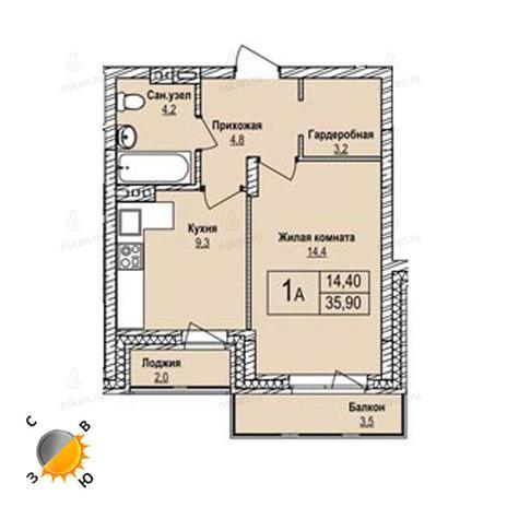 Вариант №1244, 1-комнатная квартира в жилом комплексе Крымский