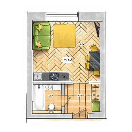 Вариант №3952, 1-комнатная квартира в жилом комплексе БонАпарт