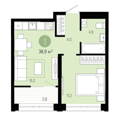 Вариант №4825, 2-комнатная квартира в жилом комплексе