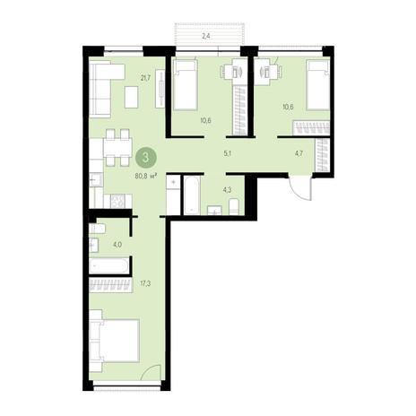 Вариант №4730, 4-комнатная квартира в жилом комплексе Европейский Берег