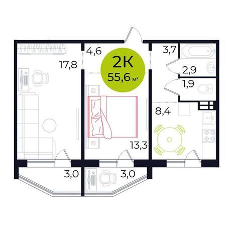Вариант №5483, 2-комнатная квартира в жилом комплексе