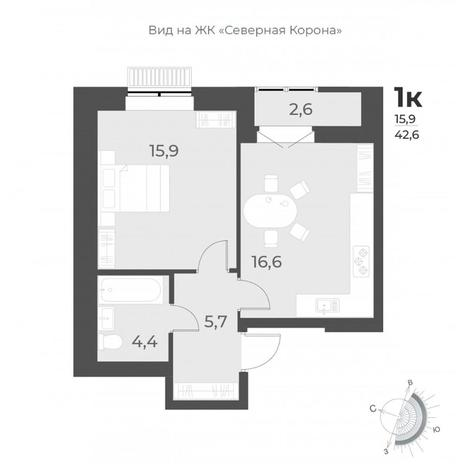 Вариант №6295, 1-комнатная квартира в жилом комплексе