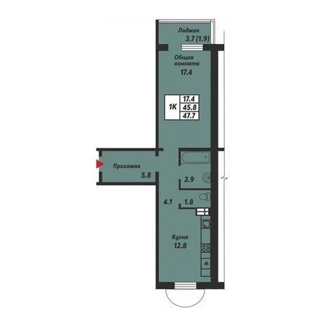 Вариант №3688, 1-комнатная квартира в жилом комплексе Заельцовский