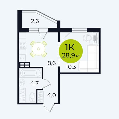 Вариант №4096, 1-комнатная квартира в жилом комплексе Венеция
