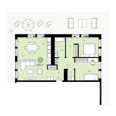 Вариант №5006, 3-комнатная квартира в жилом комплексе Пшеница