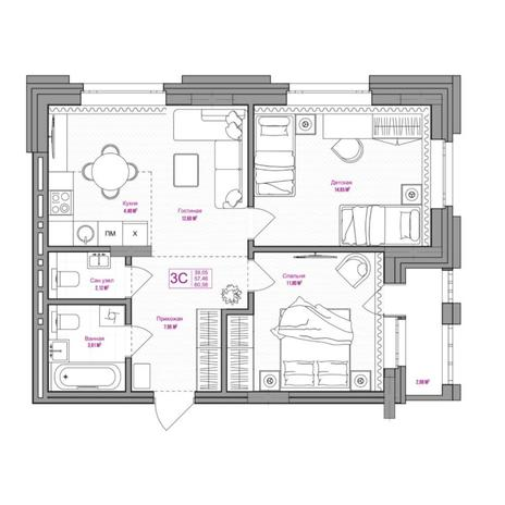 Вариант №6653, 3-комнатная квартира в жилом комплексе