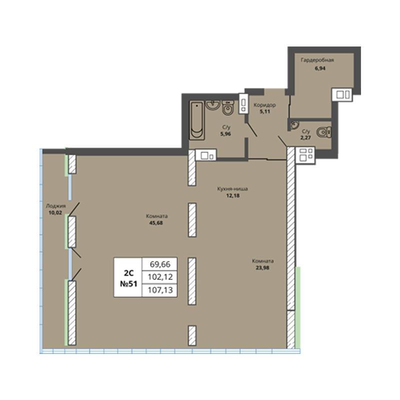 Планировка 3-комн. студия площадью 107.13 м<sup>2</sup> в ЖК Prime House