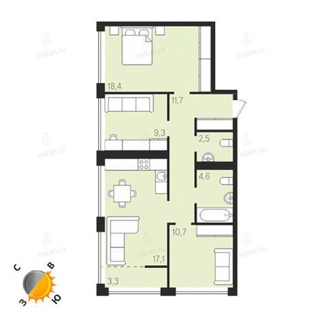 Вариант №1293, 4-комнатная квартира в жилом комплексе Панорама