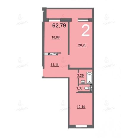 Вариант №757, 2-комнатная квартира в жилом комплексе Матрешкин двор