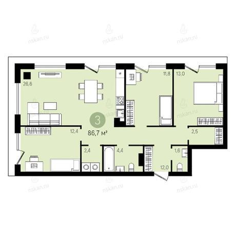 Вариант №2643, 4-комнатная квартира в жилом комплексе Квартал на Никитина