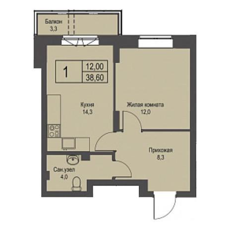 Вариант №3426, 1-комнатная квартира в жилом комплексе Крымский