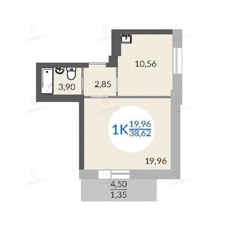 Вариант №1075, 1-комнатная квартира в жилом комплексе Красный проспект 163/6