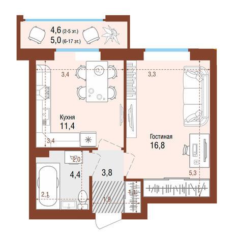 Вариант №4206, 1-комнатная квартира в жилом комплексе Акварельный 3.0