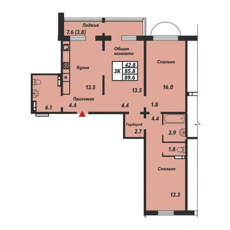 Вариант №3667, 3-комнатная квартира в жилом комплексе