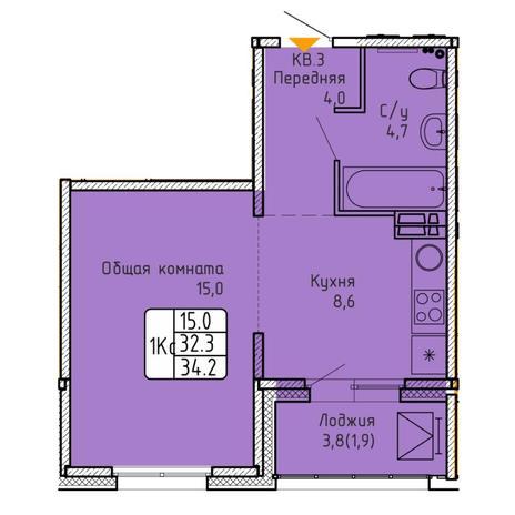 Вариант №5743, 1-комнатная квартира в жилом комплексе