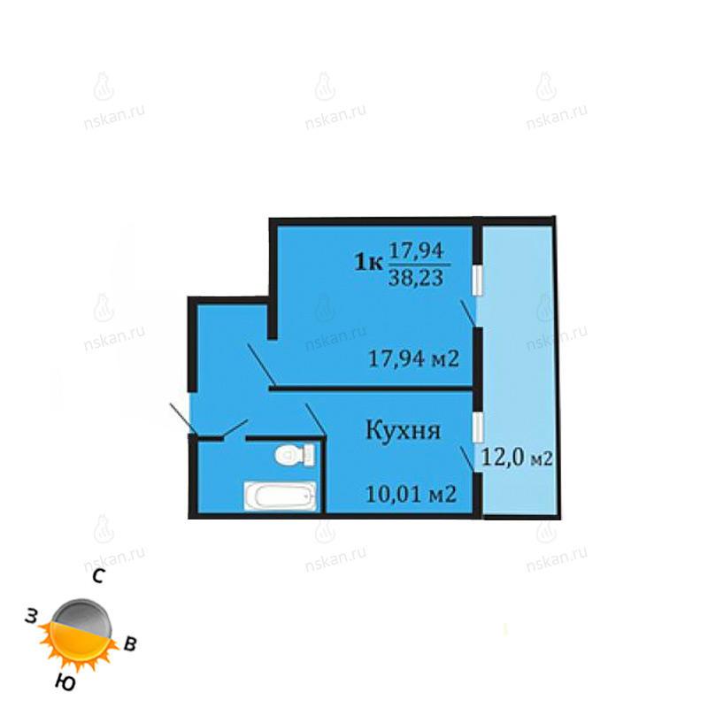 Планировка 1-комнатная площадью 38.23 м<sup>2</sup> в ЖК Грани