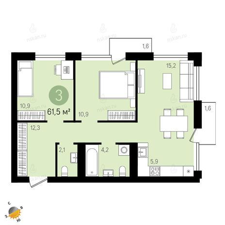 Вариант №2411, 3-комнатная квартира в жилом комплексе Европейский Берег