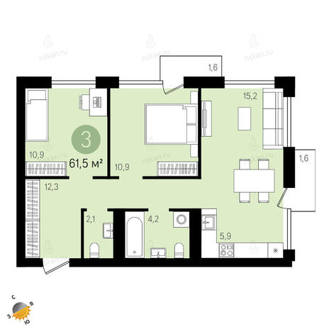 Вариант №2411, 3-комнатная квартира в жилом комплексе