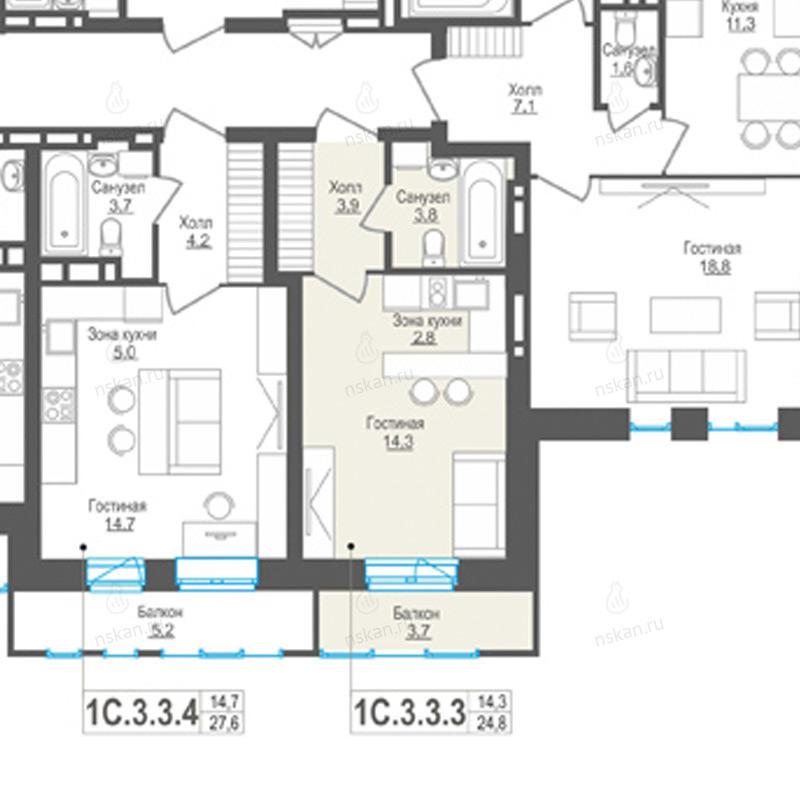 Планировка 1-комн. студия площадью 24.8 м<sup>2</sup> в ЖК Пифагор
