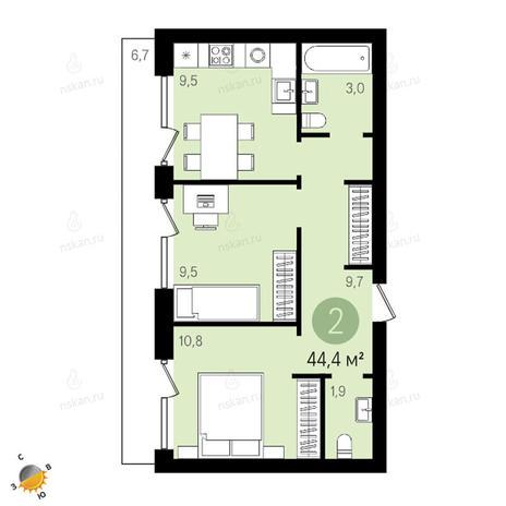 Вариант №2416, 2-комнатная квартира в жилом комплексе