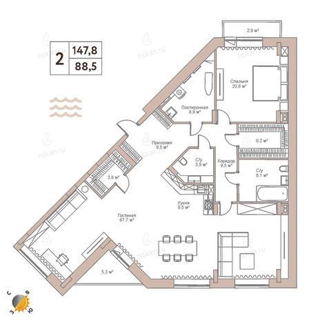 Вариант №2443, 3-комнатная квартира в жилом комплексе