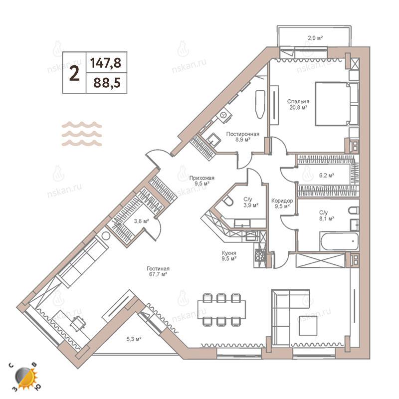 Планировка 3-комн. студия площадью 147.8 м<sup>2</sup> в ЖК Flora & Fauna
