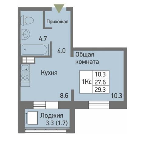 Вариант №3874, 1-комнатная квартира в жилом комплексе Акварельный 3.0